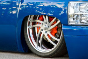 Staggered 26-inch billet specialty BLVD 85 wheels paired with the 16-inch Wilwood brakes