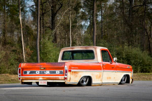 Rear quarter view of the custom 1971 Ford F-100