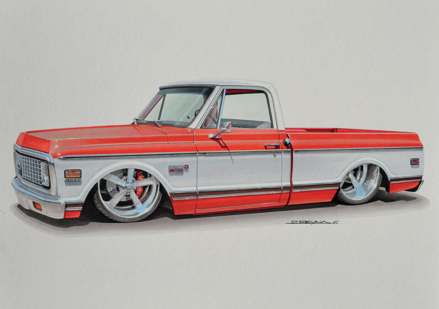 the inspiration for reyna brothers builds starts at the drafting table. the renderings are created by Daniel's steady hands. the orange and white '69 c10 is Daniel's personal project, and the chassis is currently being built at Nfamous air suspension.