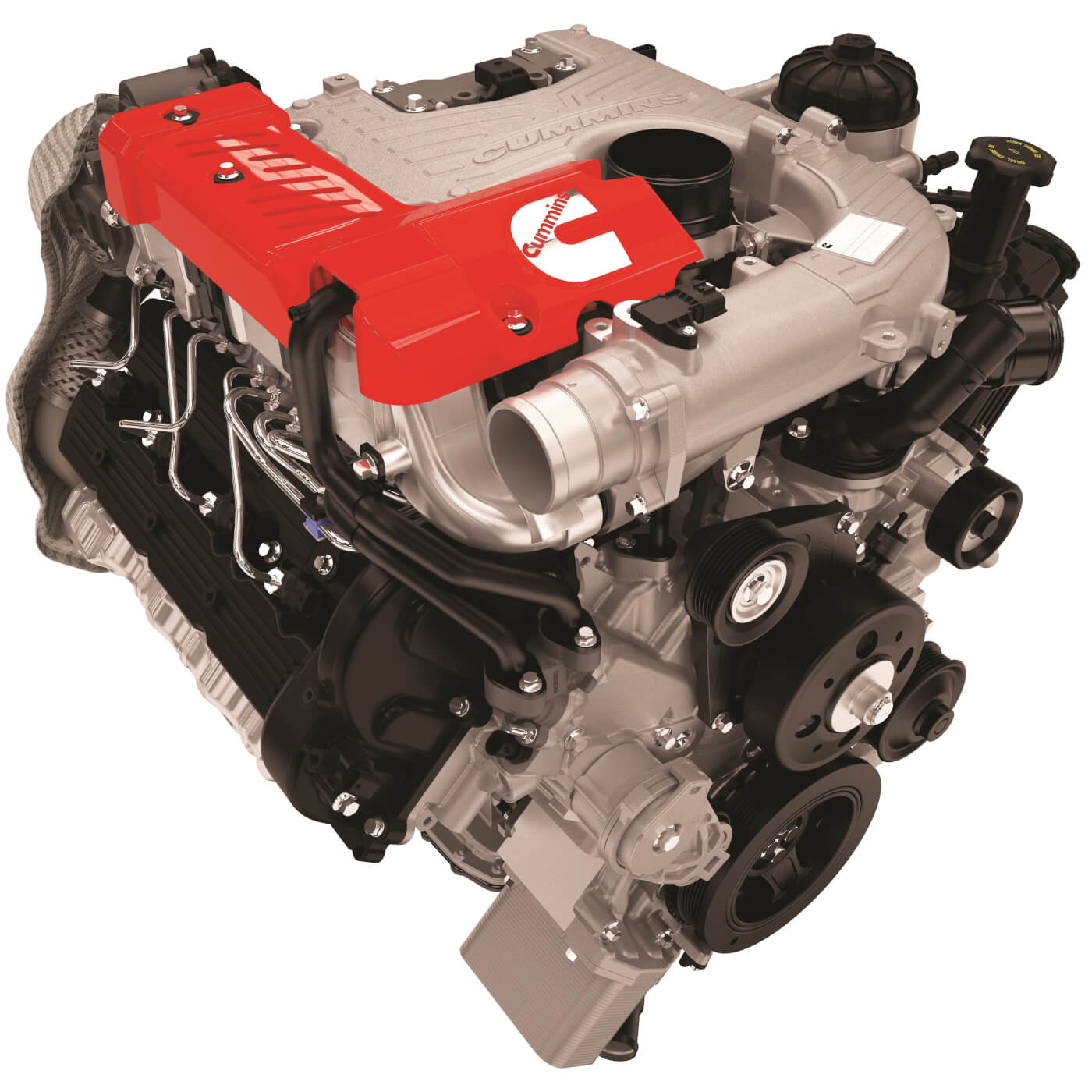 The 5.0L V8 Turbo Diesel brings together a compacted graphite iron (CGI) cylinder block, forged steel crankshaft, high-strength aluminum alloy heads, and composite valve covers to offer maximum durability in a lightweight package. These features, along with dual overhead camshafts, also contribute to the excellent noise, vibration and harshness (NVH) characteristics achieved by the 5.0L V8 turbo diesel.