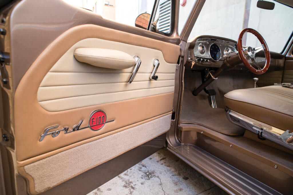 F-100s have never been known for having ornate interiors, but Jeff's Ford is a bit different. Kodey Wells of Wells Upholstery revamped Jeff's interior with awesome upgrades such as these door panels, which feature F-100 badges for an extra level of detail.