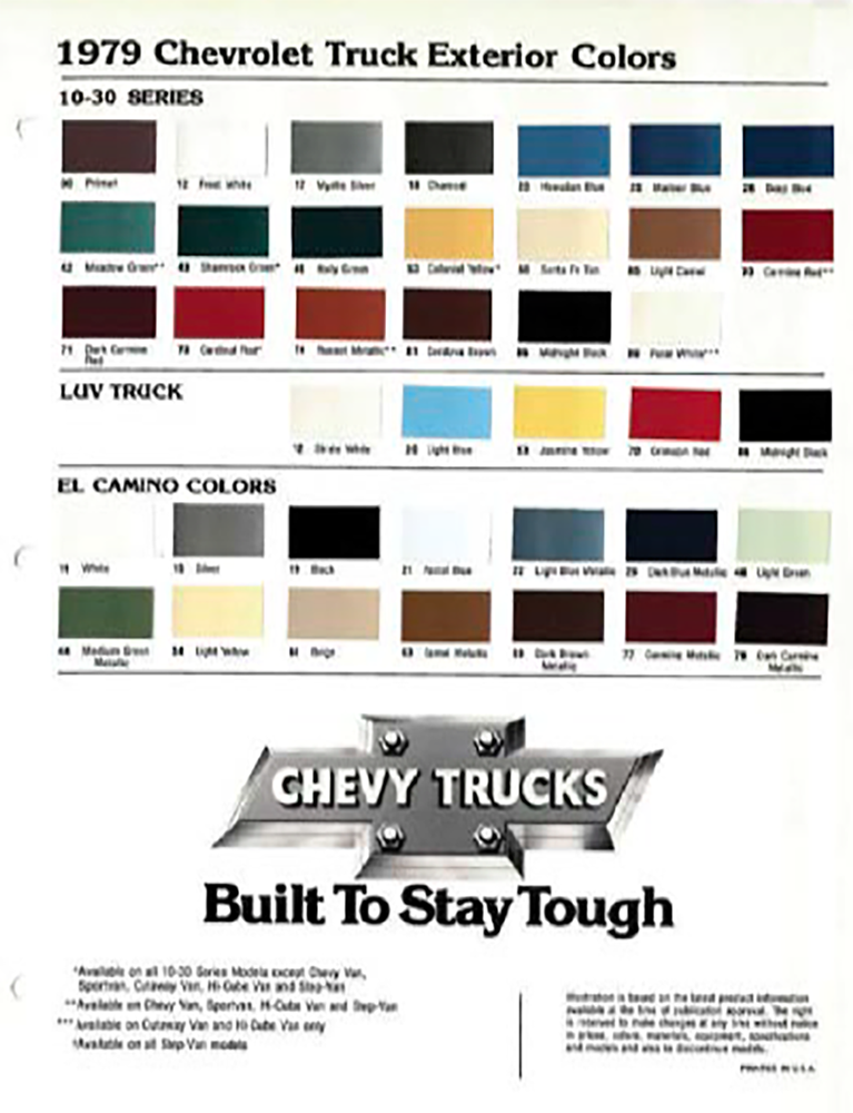 Gm Paint Codes >> Square Body Paint Swatches Og C10 Color Codes Available