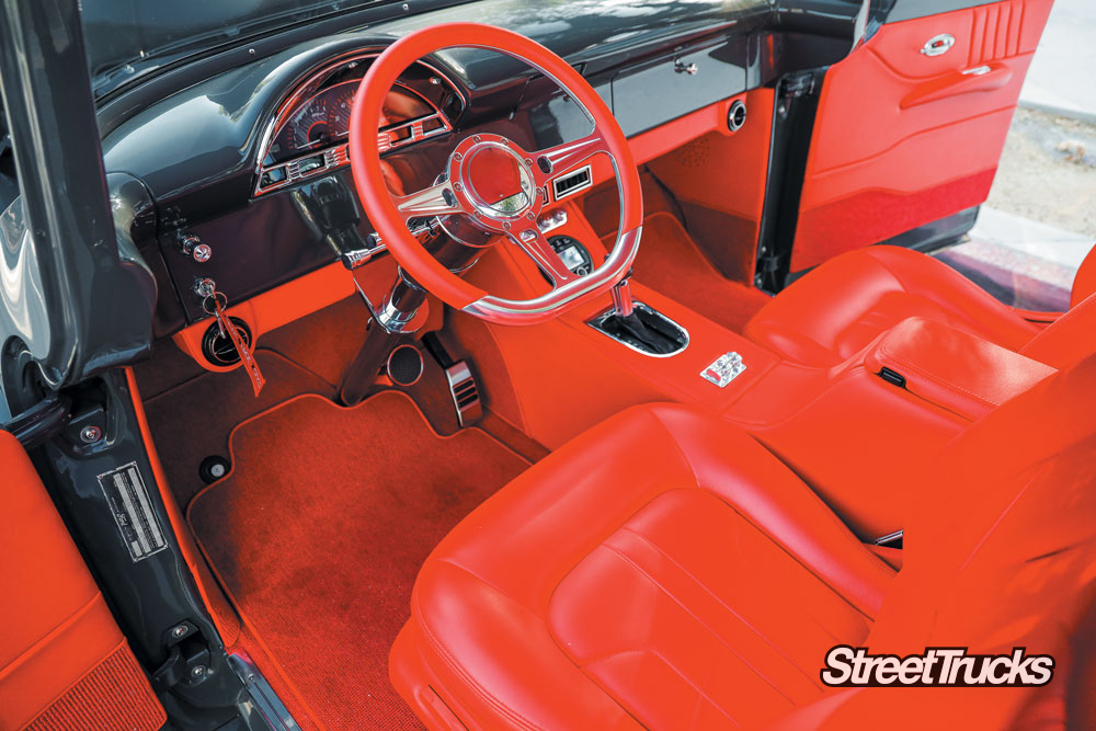 Red interior on a 1956 F-100 truck