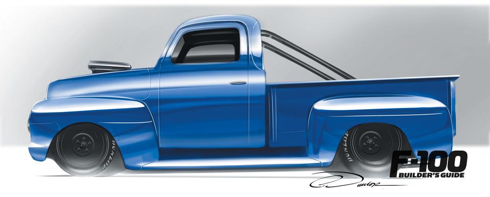 Hand drawn Blue Ford F-100