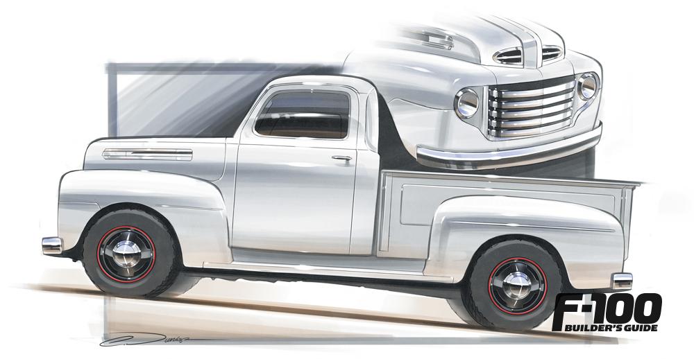 Hand-drawn silver '51 Ford