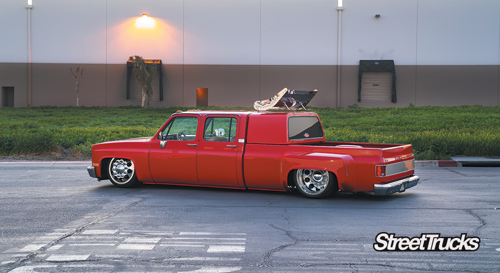 Red 1973 Chevy C30 Dually