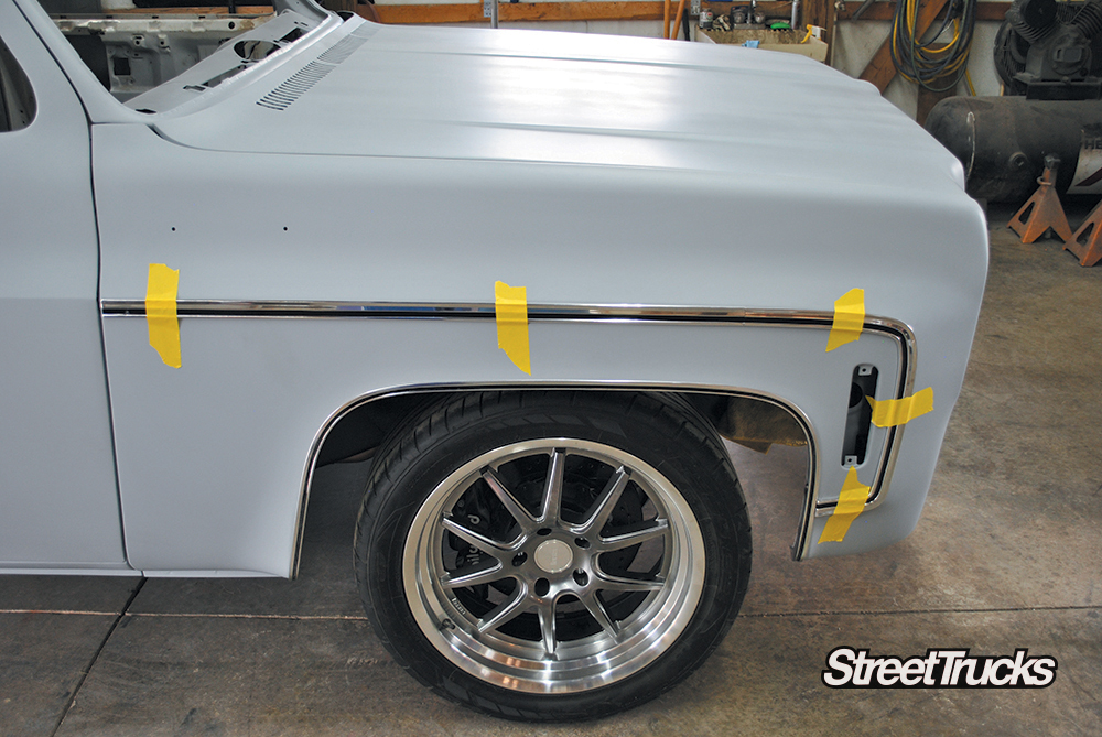 Taping Mar-K's Body-Side Molding on a 1977 C10