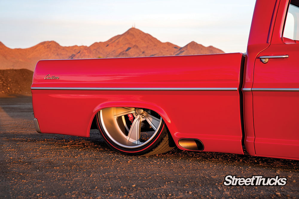 Intro Vistas wheels on a custom red F-100