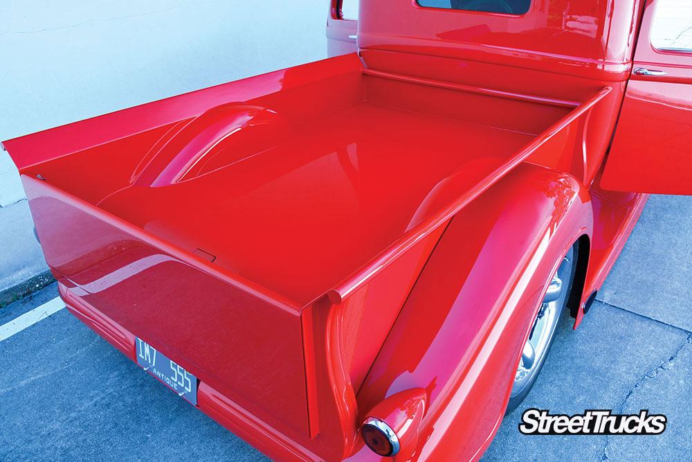 Custom red dodge pickup truck