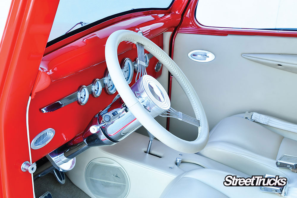 White interior on the a 1938 Dodge pickup